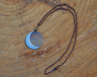Mystic Moon Copper Pendant Necklace---Made to Order Item