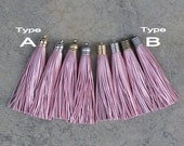 Metallic Light Pink Leather TASSEL in 12mm Dome-shaped Cap (Type A) or Lined Cap (Type B)- Pick your tassel cap