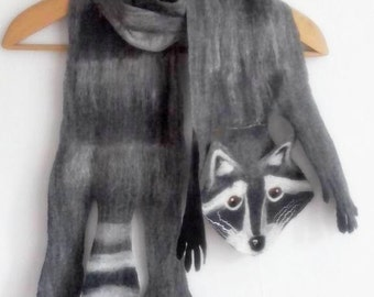 Raccoon pet scarf. Pure wool hand felted fun raccoon kids' and grownups scarf, unique art accessory, one-of-a-kind playful winter fashion