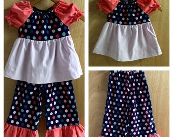 Corduroy Polka Dot Tiered Top and Ruffle Pants, size 2t