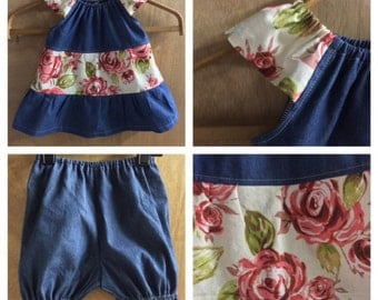 Denim Rose Boho Dress with Bloomers, size 18 months