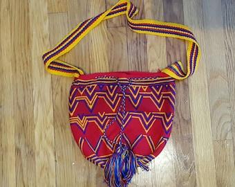 Vintage Tribal Hand Woven Tibetan Bright Drawstring Crossbody Bag with Tassels