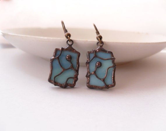 Stained glass earrings, copper wire earrings, womens gift, bohemian, turquoise contemporary jewelry, artistic earrings, Separate paths