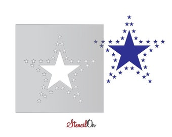 """Surrounding Stars Craft and Wall Stencil - Reusable Mylar - Sizes 4"""" to  21"""""""