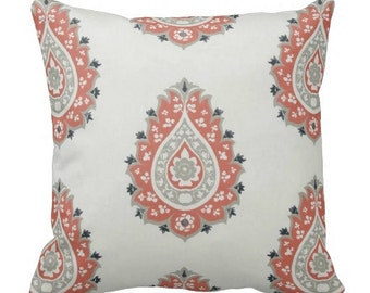 decorative pillows, throw pillows for couch, coral grey pillows, ikat throw pillows, decorative pillows for couch, paisley pillows, 18x18 in