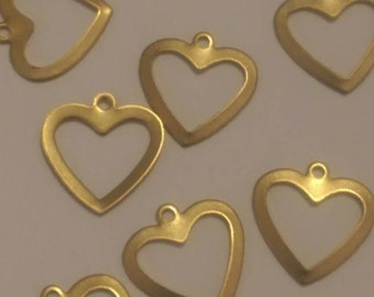 12pcs Heart Charm Raw Brass Stampings Card Making Raw Brass Embellishments Jewelry Supplies Scrap Booking Commercial Supplies Wedding Cards