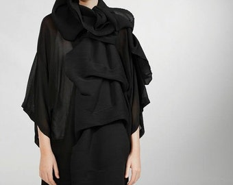 Wrap Shawl, Black shawl, black scarf, sheer scarf , fashion scarf, elegant shawl, pleated scarf, oversize scarf, plisse scarf