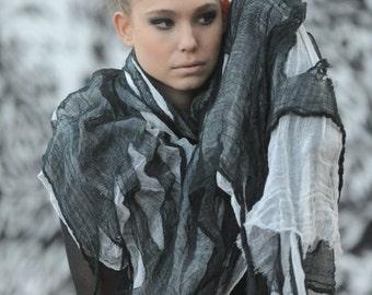 ombre Grey Scarf, Black scarf, Gauze wrap stole shawl, oversize scarf, cotton gauze scarf, ripped scarf ,one of a kind shawl,