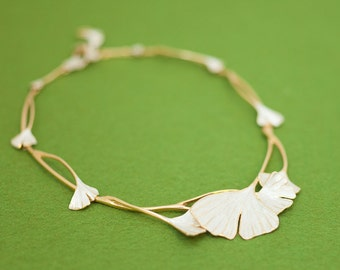Gingko necklace - elegant dress necklace - gold and silver - allergy free - free shipping