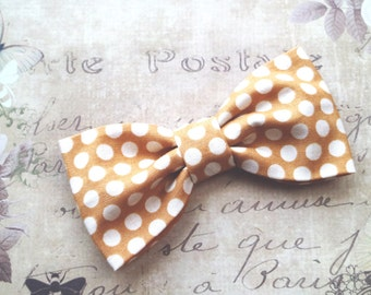 Mustard Bow tie. Cotton fabric bow. Hair barrette. Hipster bow tie. Polka dots elegant brooch bow ready to ship, mustard wedding