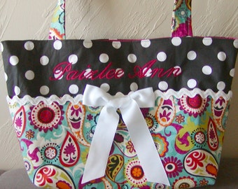 Diaper bag, handbag, purse, book bag..Paisley N Dots with Name..Choose a Font.Customize to match your carseat canopy(see fashionfairytales).
