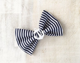 Rockabilly Pin up Navy Blue & White stripe Nautical Sailor Hair Bow Clip with White Anchor