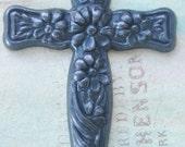 Floral Crucifix Brass Pendant, Black Satin Finish