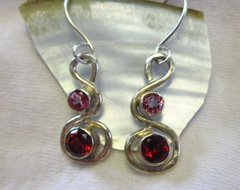 Ready to Ship: GARNETS & PINK TOPAZ in Hammered Silver