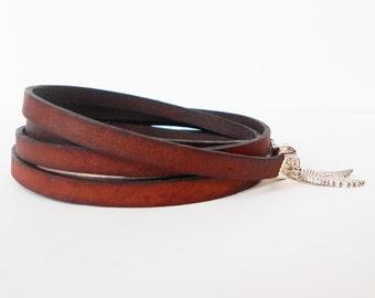 distressed brown leather wrap bracelet, unisex cuff, angel wings, boho chic rocker style, mens leather bracelet, gift for him, gift for her