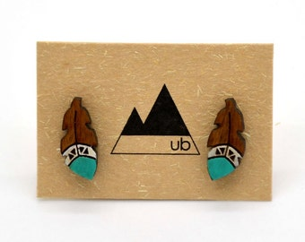 Wooden Feather - Studs