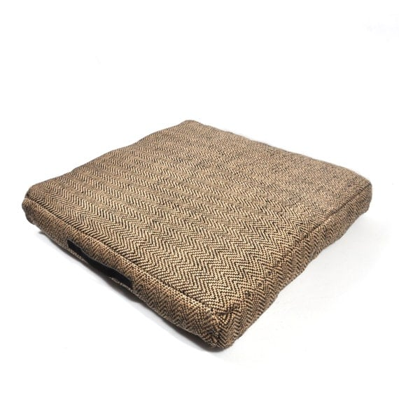 Leather Floor Pillows Cushions : Jute Herringbone Pattern Floor Pillow with by SleepingPartners