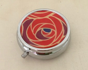 Pill box Jewelry case with Japanese handmade washi paper (Rose) with gift envelope