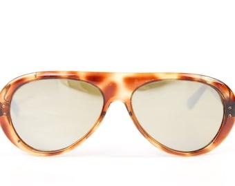 Vintage 70s iSKi Sunglasses Mirrored Glass Lenses Tortoise Shell Powder 1970s Ski Snowboarding Shades Glasses Frames