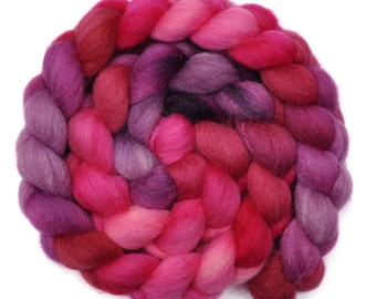 Hand painted roving - Silk / Falkland wool spinning fiber - 4.1 ounces - Lipstick On His Collar 2
