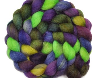 Hand painted roving - Silk / Falkland wool spinning fiber - 4.1 ounces - Under the Arbor 2