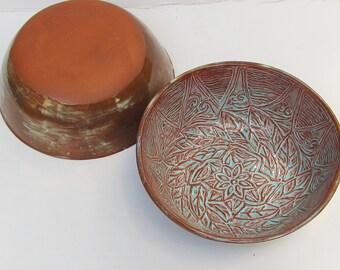ceramic bowl set; ceramic cereal/salad bowl (set of two); hand built pottery; ceramics and pottery