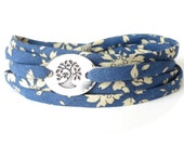 Confirmation gift for girls, dark blue wrap bracelet with meaningful tree charm, modern accessories for teen girls, Liberty cotton fabric