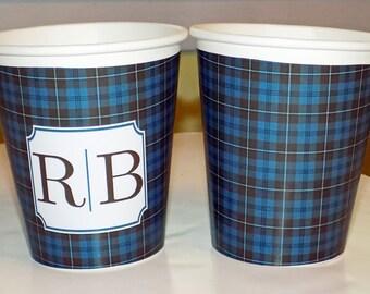 Monogram or Plain Auld Lang Syne Burns Tartan Plaid Hot/Cold Paper Party Cups - Set of 12