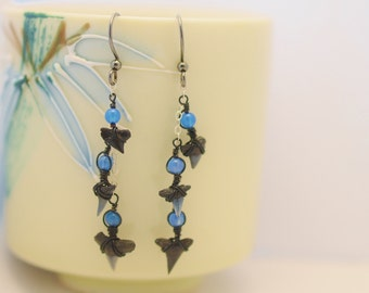 Sharks Tooth Dangle Earrings - Shark Tooth Collection Earrings - Blue Agate - Sterling Silver - Genuine Fossils