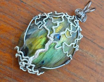 Labradorite Tree of Life Pendant - One of a Kind - Silver and Crystal - Blue Green Gold Flash