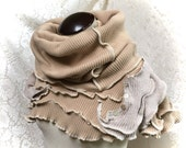 Upcycled Cotton Hood Collar, Poncho, Shawl, Scarf, Beige Cotton Knit, #C165