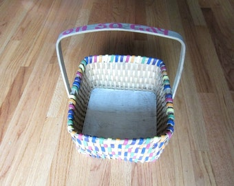 Vintage Basket Upcycled Hand Painted Rainbow Oh So Gay One of a Kind