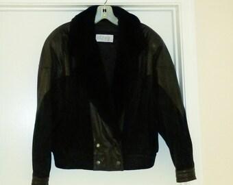 Vintage Women's D'LINEA By Casablanca BLACK Leather Jacket SIZE Medium