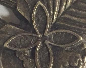 Vintage Sterling Silver Brooch Pendant Polynesian Style