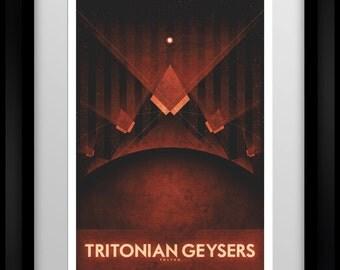 Space Travel Poster - Triton - Tritonian Geysers