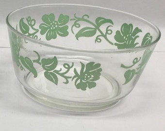 Libbey Bowl glass green floral Set of 2