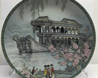 Jingdezhen 1988 Imperial collectible wallplate The Marble Boat The Summer Palace series  Signed Zhang Song Mao  Zhang Song Mao