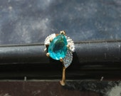 Vintage Ring Blue Green Stone with Diamonds-Reserved for Ellen