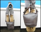 COACH Vintage USA Leather Dark Brown Small BUCKET Handbag g4p-9010