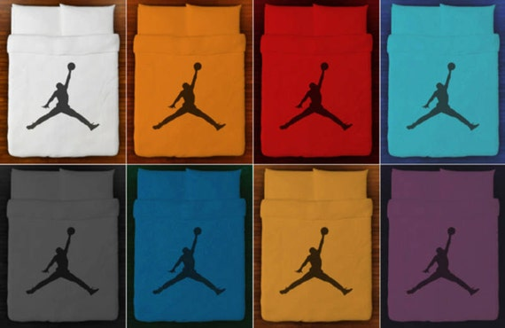Basketball bedding duvet cover air jordan jumpman queen king - Drap housse king size ...