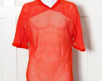 Vintage 70s 80s Mesh Football Jersey 81 - orange black