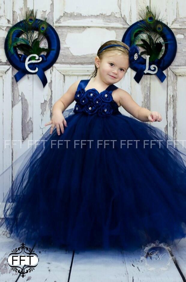 Navy Blue Tutu Flower Girl Dresses 48