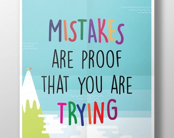 Digital Printable Poster / Motivational for Kids / Mistakes Are Proof / Printable Digital Art
