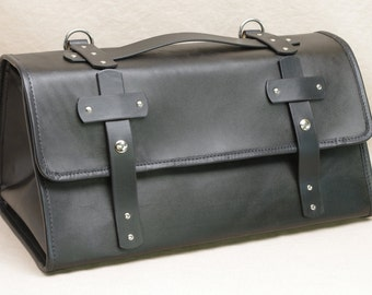 Leather Travel Carry On Bag - Black