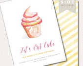 Cupcake Invitation - Watercolor Printable for Baking Party - 1st Birthday, Baby Shower or Bridal Shower Party