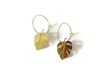 Boucles d'oreilles créoles Monstera, doré à l'or fin 24k ou plaqué argent