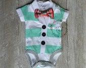 Baby Boy's Cardigan Onesie Set - Aqua Striped Short Sleeve Cardigan & Bow Tie Set- Little Mister Onesie Set-Little Boy Cardigan Set