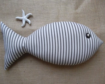 Fish Pillow - Lake Decor - Nautical Pillow - Cottage Chic Decor - Black and Ecru