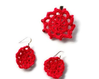 Crochet Earring - Crochet Jewelry - Crochet Accessories - Vegan Earrings - Dangle Earrings - Hook Earrings - Earrings - Red Earrings