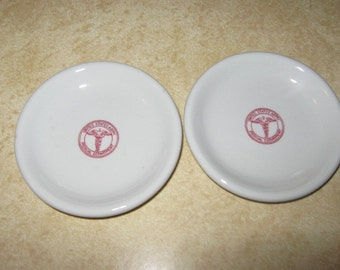 Two Buffalo China US Army Medical Department Butter Pats
